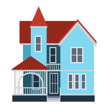 facade building: House front view vector illustration. Houses flat style modern constructions vector. House front facade building architecture home construction, urban house building s apartment front view