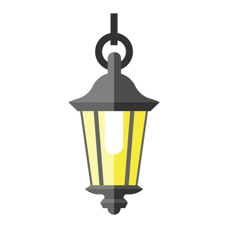 Street lamp silhouette retro metal street object electricity industry and vintage street lamp silhouette vector. Street lamp flat vector illustration. Street lamp silhouette