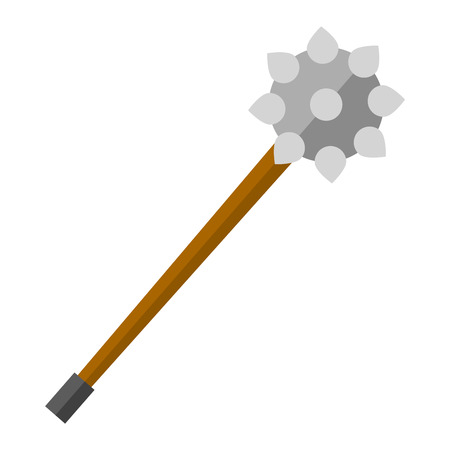 traditional weapon: Old medieval iron mace isolated over white. Mace fight vintage danger metal knight vector illustration. Medieval war handle mace warfare ancient. antique, steel, history spiked traditional weapon. Illustration