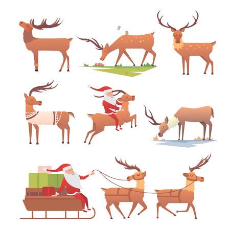 christmas reindeer vector silhouettes on white background. Christmas deer holiday reindeer xmas celebration symbols. Decoration winter art new animal christmas deer retro graphic vintage ornament.