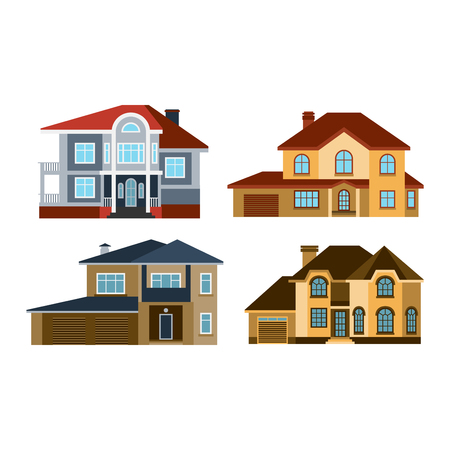fasade: Houses front view vector illustration. Houses flat style modern constructions vector. House front facade building architecture home construction, urban house building s apartment front view