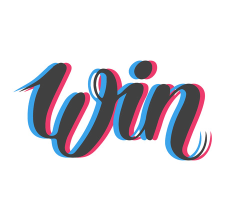 Win text sign vector test illustration. Success luck message contest promotion win text. Banner competition award lucky lottery word win text. Modern reward gamble champion text.
