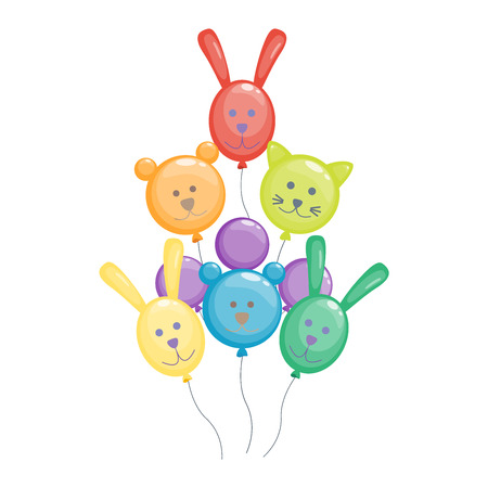 helium: Color glossy animals balloons mega set vector illustration. Round entertainment balloons holiday festival happy gift. Balloons beautiful toy party day celebrate, isolated helium color carnival tool.