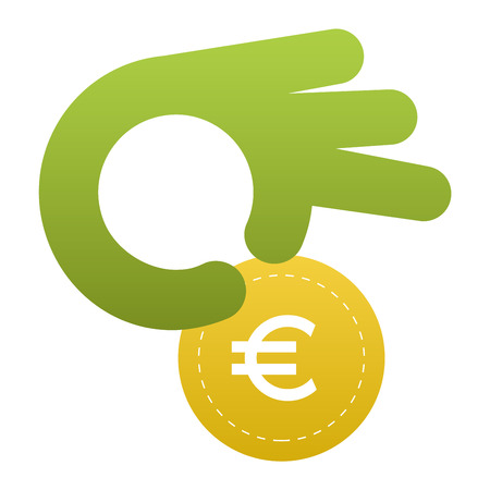 contribute: Vector donate concept hand and money button in flat style. Donation gift charity, isolated web donate button design sign contribute. Money giving symbol donate button sign Illustration