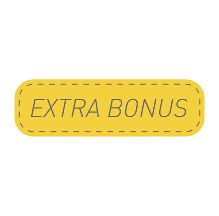 Super and extra bonus banner text in color drawn label, business shopping concept vector. Internet promotion shopping extra bonus label button. Extra bonus label button advertising discount marketing. Illustration