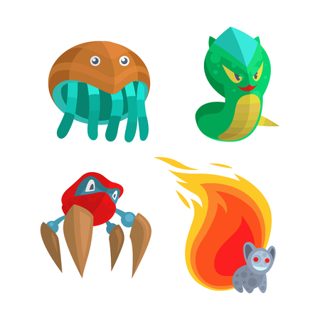 Fantasy monster color grunge character funny design element. Humour emoticon fantasy monsters unique expression sticker isolated. Alien sticker vector fantasy monsters paint crazy animals. Illustration