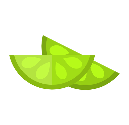 lime slice: Slice of fresh lime isolated on white background fruit. Lime slice vector citrus food, slice juicy organic sweet vitamin. Tasty healthy cut exotic fruit. Illustration