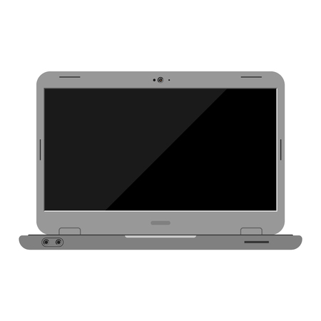 retina display: Modern laptop computer isolated on white background vector. Laptop keyboard isolated on white background technology communication vector. Flat laptop top view. Computer technology front view vector