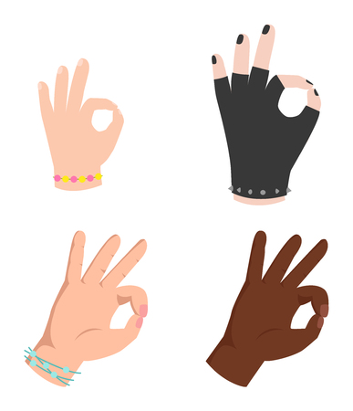 hand sign: Ok hands success gesture and okey hands yes agreement. Okey hands signal business human agree. Best approval accept. Silhouette of hands showing symbol of all ok Illustration