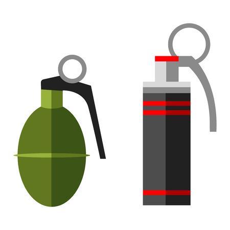 grenade: Grenade explosive bomb military army weapon. Soldier combat grenade gun. Grenade metal armed attack explode. Destruction steel bomb equipment. Hand grenade bomb explosion weapons vector. Illustration