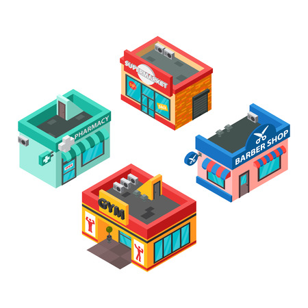 beauty center: Vector isometric buildings set isolated. Convenience store supermarket isometric building. Warehouse, beauty salon, fitness center isometric buildings design. Urban business construction design set.