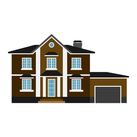 fasade: House front view vector illustration. Houses flat style modern constructions vector. House front facade building architecture home construction, urban house building s apartment front view