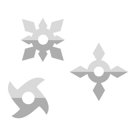 traditional weapon: Ninja shuriken star weapon icon in flat style isolated on white background. Japan martial steel shuriken blade sharp. Traditional ninja japanese shuriken karate fight symbol vector.