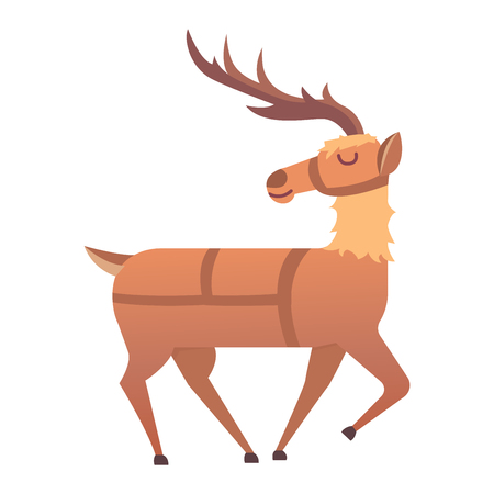 white tail deer: Cute deer cartoon comic wild vector character. Vector wild mammal cartoon deer celebration, humor mascot. Elk antler clip art holiday symbol stag nature cartoon deer forest animal. Christmas deer Illustration