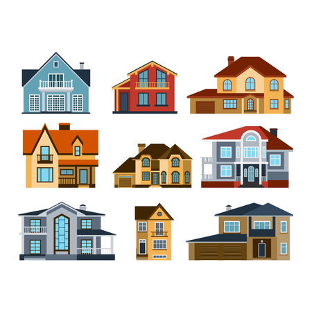 front of house: Houses front view vector illustration. Houses flat style modern constructions vector. House front facade building architecture home construction, urban house building s apartment front view