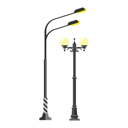 street lamp: Street lamp silhouette retro metal street object electricity industry and vintage street lamp silhouette vector. Street lamp flat vector illustration. Street lamp silhouette