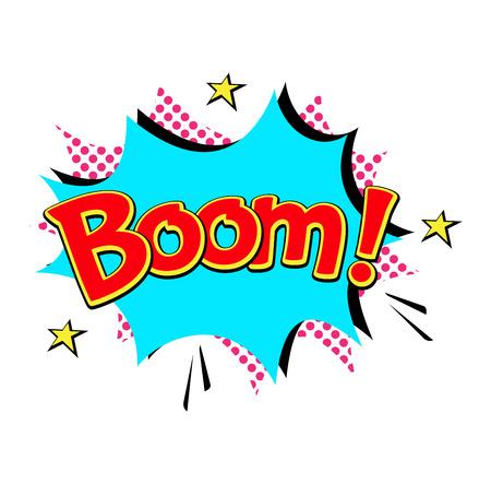humor: Pop art comic speech bubble boom effects vector. Bubble boom speech and pop explosion bang bubble boom. Communication cloud fun humor book splash element abstract funny balloon. Illustration