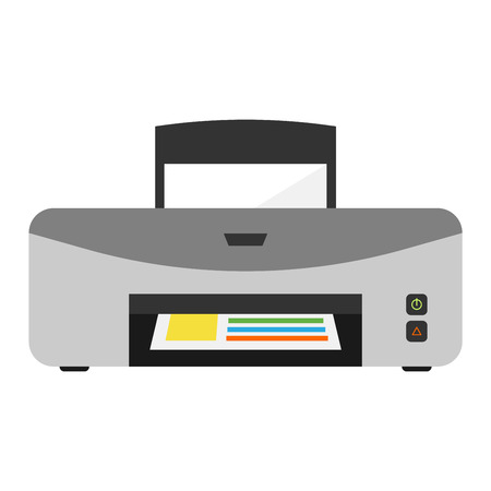 inkjet: Printer machine graphic icon scanner tool electronic vector illustration. Technology computer design machine printer vector. Business isolated office ink jet page document equipment. Illustration