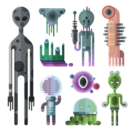 witty: Cartoon cute alien monsters vector set. Witty animal funny mouth aliens monsters halloween beast icon. Aliens monsters mascot smile graphic toy devil cartoon mutant creature funny character.