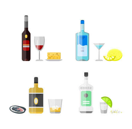 refreshment: Alcohol drinks beverages and cocktail whiskey drink bottle lager refreshment container. Alcohol menu drunk concept. Set of different alcohol drink bottle and glasses vector illustration. Illustration