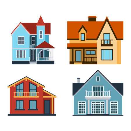facade building: Houses front view vector illustration. Houses flat style modern constructions vector. House front facade building architecture home construction, urban house building s apartment front view