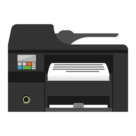 photocopy: Office multifunction printer copy machine and copy machine paper office printer. Business copy machine and vector technology equipment photocopy copy machine. Digital scan modern secretary. Illustration