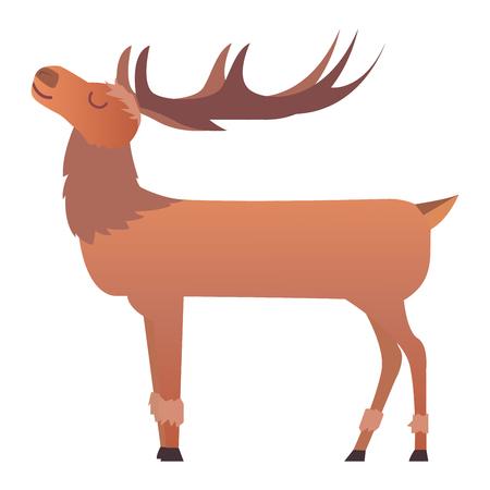 Cute deer cartoon comic wild vector character. Vector wild mammal cartoon deer celebration, humor mascot. Elk antler clip art holiday symbol stag nature cartoon deer forest animal. Christmas deer Illustration