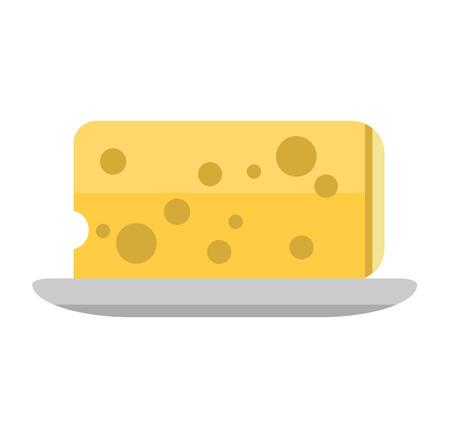 frash: Cheddar cheese slice on white background. Food healthy product, snack frash milk gourmet breakfast vector illustration. Fresh cheese slice and healthy cheese slice. Gourmet cheese slice.