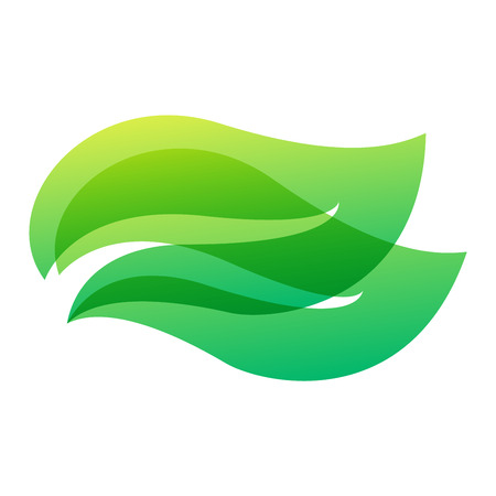 Green leaf eco design element icon. Leaf icon vector illustration friendly nature elegance symbol. Decoration flora leaf icon on white. Natural element ecology symbol green organic icon 矢量图像