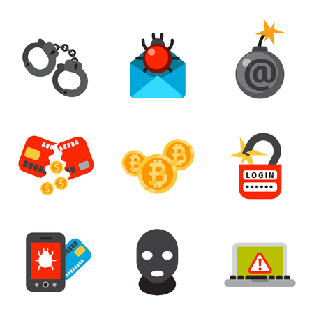 internet attack: Internet security safety icons. Virus attack vector icons. Internet data protection security. Technology cloud network icons. IT security concept icons infographic design elements. Cyber crimes