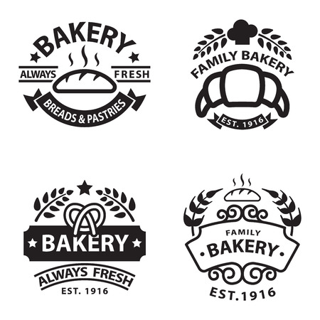 baked goods: Bakery badgesand logo icon thin modern style vector collection set. Retro bakery labels, logos and badges icons. Bakery badges design elements isolated on white background