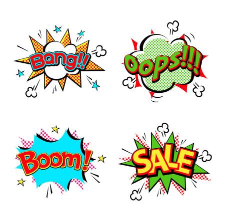 Pop art comic speech bubble boom effects vector. Bubble boom speech and pop explosion bang bubble boom. Communication cloud fun humor book splash element abstract funny balloon. Illustration