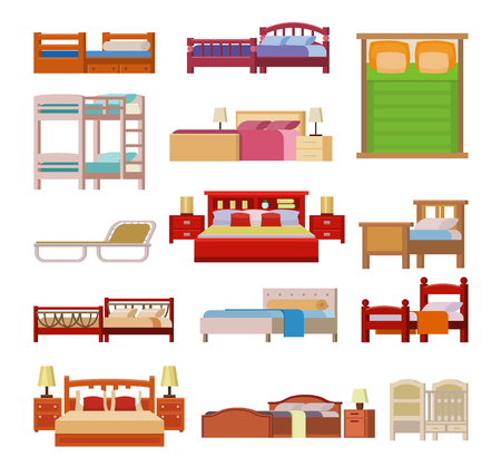 Vector bed icon set interior home rest. Double romantic travel motel collection bed vector sleep furniture icon. Bed vector house information hostel bedtime modern service sleep furniture. Stock Illustratie