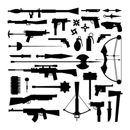 武器は銃のコレクションのアイコンをベクトルします。拳銃、短機関銃とアサルトライフル。狙撃ライフル、ナイフと手榴弾ベクトル アイコン。白