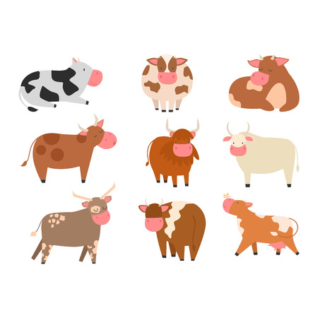 Milk cow bull with calf bull buffalo. Different cow dairy farm beef, nature domestic farm animal. Cartoon cow action , with cute lovely heifer vector.