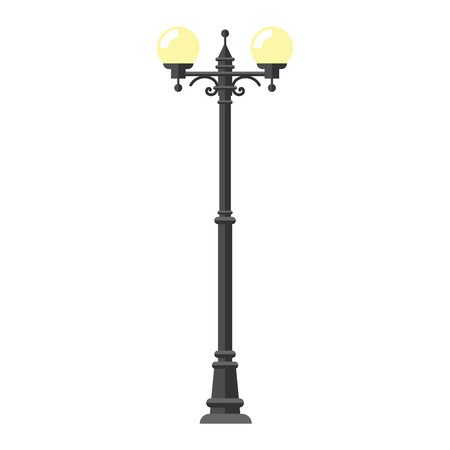 Street lamp silhouette retro metal street object electricity industry and vintage street lamp silhouette vector. Street lamp flat vector illustration. Street lamp silhouette 免版税图像 - 64072149