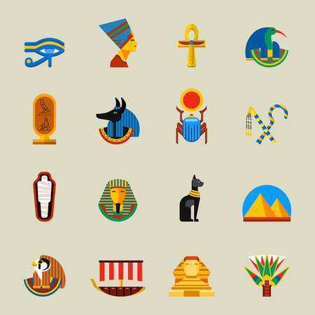 Set of vector flat design egypt travel icons and infographics elements. Egypt icons with landmarks set culture ancient. History africa pyramid sign egypt icons collection scarab silhouette. Ilustrace
