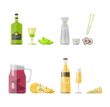 sake: El alcohol bebidas bebidas y cóctel de whisky botella de bebida envase lager refresco. Alcohol Menú concepto borracho. Conjunto de diversa ilustración vectorial botella de bebida de alcohol y vasos. Vectores