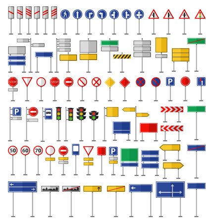 Road signs and symbols. Flat road signs set. Traffic signs graphic elements isolated on white. Great for infographic, city construction mobile apps. Flat design road signs concepts creative vector.