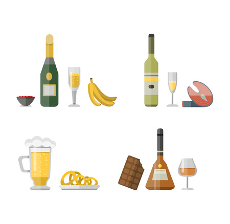 Alcohol drinks beverages and cocktail whiskey drink bottle lager refreshment container. Alcohol menu drunk concept. Set of different alcohol drink bottle and glasses vector illustration. Illustration