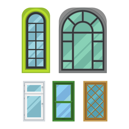 sill: Different types house windows vector elements isolated on white background. Windows elements flat vector style. Vector windows frames. Windows isolated on white