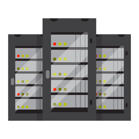 Computer server icon vector illustration. Computer server icon isolated on white background. Computer server icon vector. Computer server flat silhouette Vektorové ilustrace