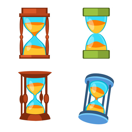 old timer: Sandglass icons set, time hourglass, sand clock flat design history second old object. Vector illustration sand clocks hourglass timer hour minute watch countdown flow measure.