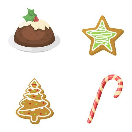 Sweet Christmas Cookie Kuchen isoliert auf weiß. Traditionelle Weihnachten süße Kuchen Holliday Vektor. Kuchen-Plätzchen für Neujahr Lebensmittel süß Vektor. Lebensmittel frisch Cookie isoliert
