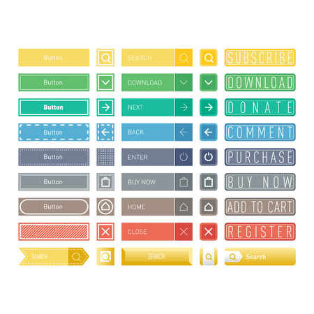 Web elements site buttons and vector shop button set. Design sign buy element shop button and label ui ux buttons. Business banner symbol shop buttons graphic. Square and circle web button. Illustration