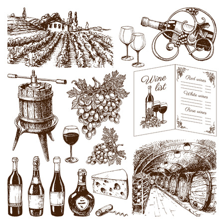 wine growing: Vinery farm and vinery grape agriculture hand drawn Vinery agriculture working beverage. Traditional vinery farm production with grape press and red wine bottle Illustration