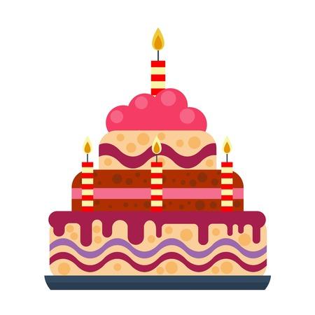 Pie for birthday isolated cake vector. Wedding or birthday cake sweet dessert homemade pie. Cream brownie cake topped pie isolated on white Иллюстрация