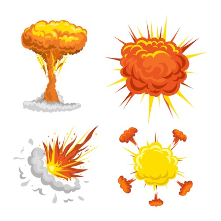 bomb explosion effect vector. Boom fire and strong explosion boom. Fire smoke cloud splash elements. Boom effect illustration Illustration