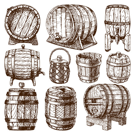 Wooden barrel vintage old style wooden barrels oak storage container hand drawn style. Wood barrel isolated vector Illustration