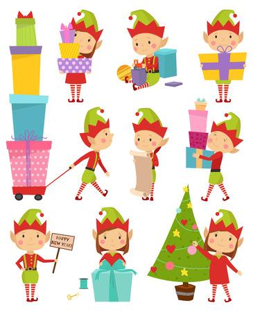 happy family at home: Santa Claus kids cartoon elf helpers vector illustration. Santa Claus elf helpers children. Santa helpers traditional costume. Santa family elfs isolated. Santa Claus elf kids
